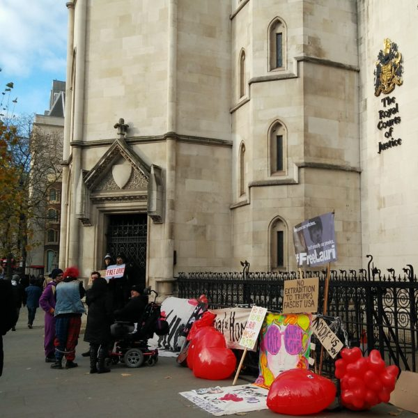 Protesters outside Royal Courts of Justice