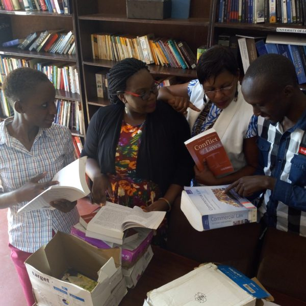 Books from ILBF being unpacked by the African Prisons Project, Uganda, January 2018