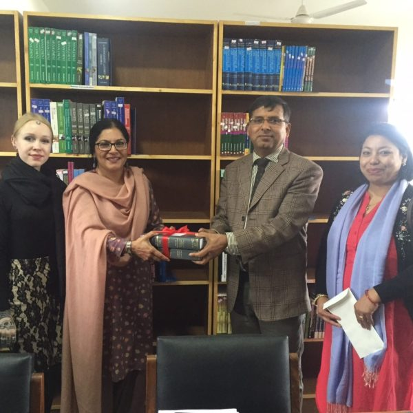 Kathmandu University, School of Law, Nepal receiving ILBF books, March 2017
