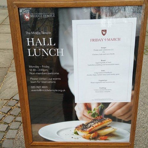 Middle Temple Lunch Menu