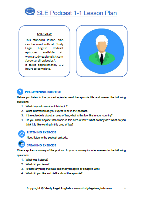 Study Legal English One-To-One Lesson Plan click to download