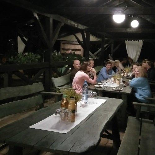 Socialising at the evening BBQ
