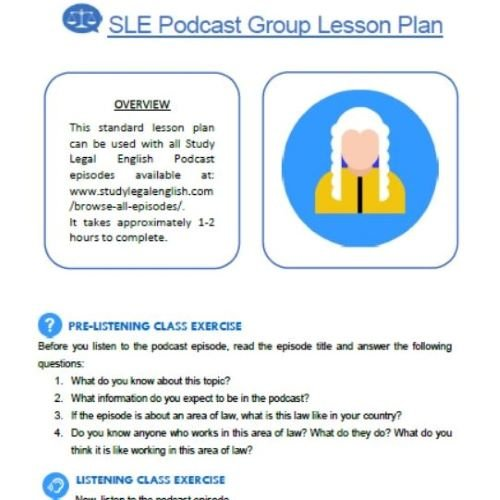 Study Legal English Group Lesson Plan click to download