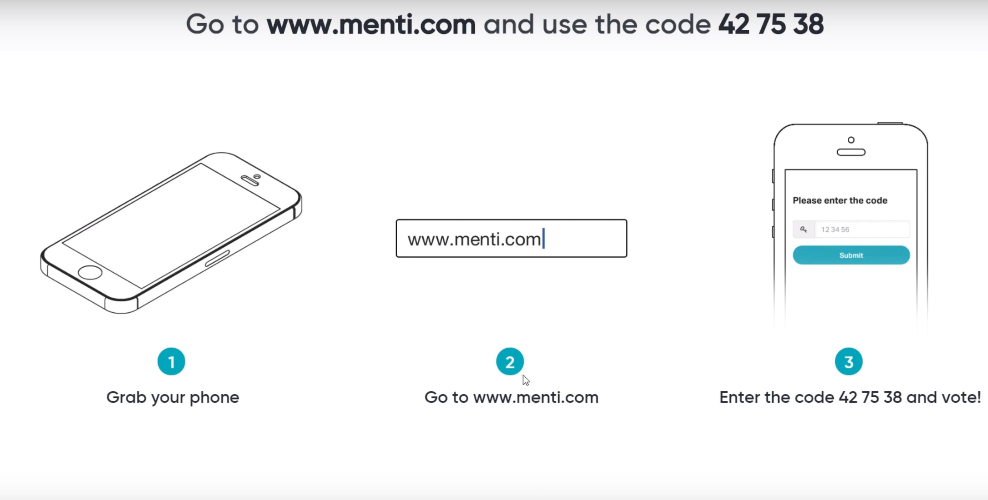 Student instructions on Mentimeter
