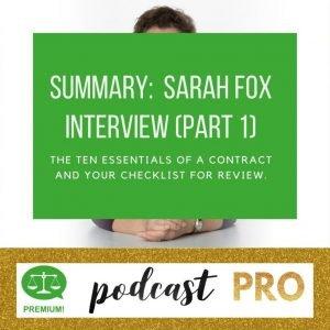 Sarah Fox Interview part 1 Summary